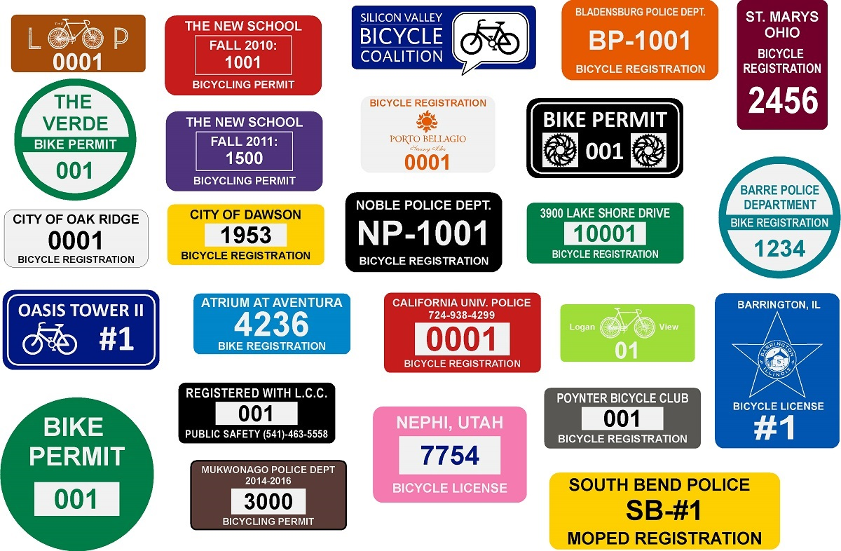 Bicycle Registration Stickers Bike Permit Labels Imprints - Vinyl stickers for bikes