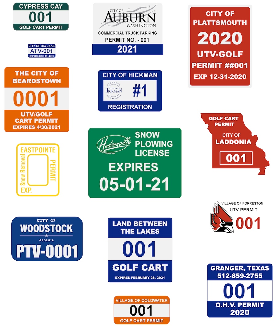 Golf Cart, ATV/UTV Permits and Labels