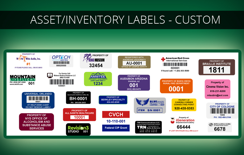 Custom Fixed Asset Labels, Inventory Labels, Stickers & Tags
