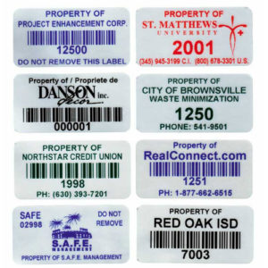 "Asset/Inventory Labels - Stock 2"" x 1"" Aggressive adhesive"