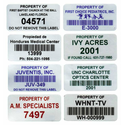 stock fixed asset labels mylar inventory labels stickers imprints