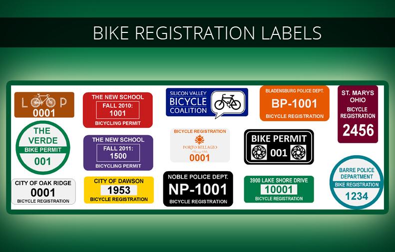 Bicycle Registration Stickers & Bike Permit Labels | Imprints