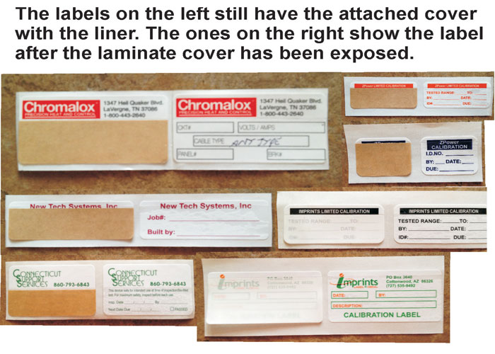 Calibration Labels Self Laminating
